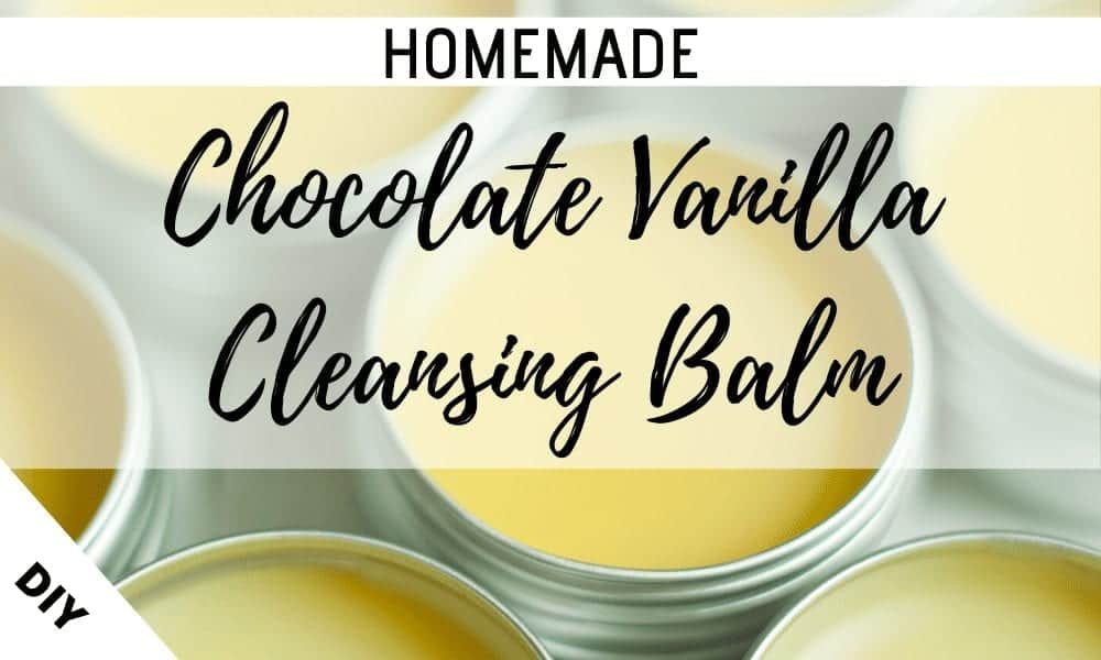 Learn how to make your own chocolate vanilla cleansing balm with four natural ingredients including coconut oil, shea butter and cocoa butter. It does not strip your skin and is perfect for acne. This simple, affordable DIY recipe melts and removes your makeup while cleansing your skin. The organic ingredients will moisturise your face leaving glowing healthy beautiful skin.  This website is excellent for homemade skincare ideas and recipes on a budget. #DIY #cleansingbalm #homemade