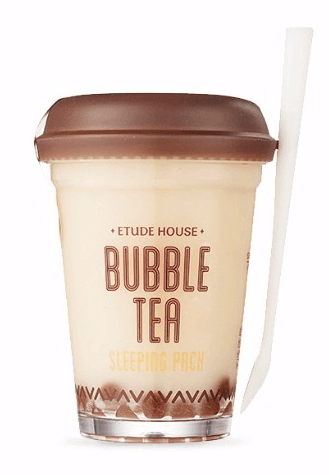 etude house bubble tea sleeping mask green tea pack how to use review cosmetic products  strawberry