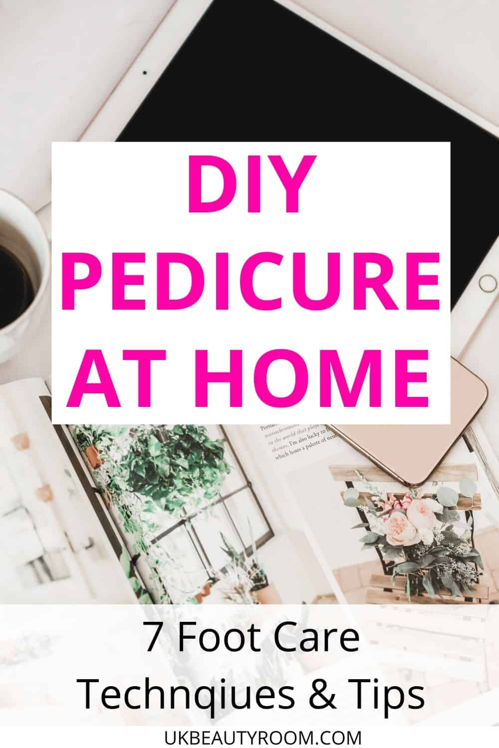 Keeping your feet healthy should be part of your daily routine. The ultimate guide to your DIY pedicure at home including all the products and steps you need.  Tips on how to make a foot care soak and scrub using epsom salt.  Care for diabetic foot, calluses, toe nails, remedies, corns, dry skin, cracked heels, and care for nurses who are on their feet all day!  Elevate your legs to improve blood circulation. This is good for runners, hiking, summer, pumice brush, tools, winter, how to get rid