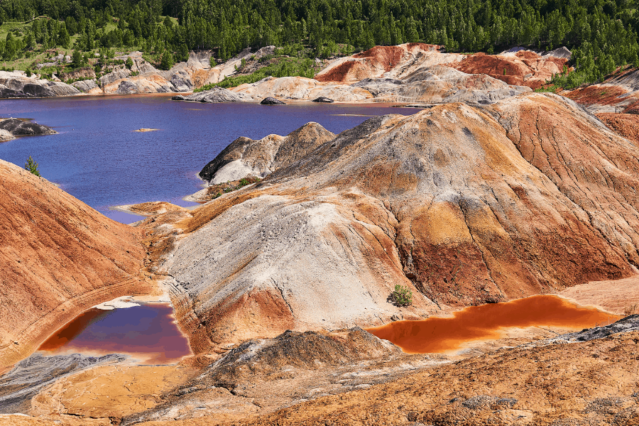 kaolin clay quarry where a purple lake had formed.  The clay is used to make a kaolin clay mask for the skin.